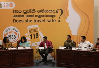 The panelists (L-R): Mr. Indrajit Samarjiv - Founder of YAMU, Ms. Anomaa Rajakaruna - Film Maker, Dr. Hiranthi Wijemanne - Former Vice Chairperson of the Monitoring Committee of the Convention on the Rights of the Child, Dr. Sisira Kodagoda - Moderator of the Panel - Chairman of the National Council for Road Safety, ASP M. R. Lamahewa - Sri Lanka Police, Mr. Vajira Perera - Video Journalist at ITN, Ms. Ushanthy Gowthaman - Blog Content Writer, UNFPA.