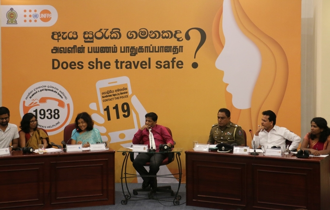 The panelists (L-R): ​Mr. Indrajit Samarjiv - Founder of YAMU, Ms. Anomaa Rajakaruna - Film Maker, Dr. Hiranthi Wijemanne - Former Vice Chairperson of the Monitoring Committee of the Convention on the Rights of the Child, Dr. Sisira Kodagoda - Moderator of the Panel - Chairman of the National Council for Road Safety, ASP M. R. Lamahewa - Sri Lanka Police, Mr. Vajira Perera - Video Journalist at ITN, Ms. Ushanthy Gowthaman - Blog Content Writer, UNFPA.